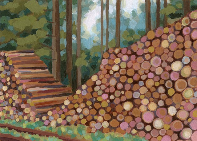 A wood pile in the German forest.
