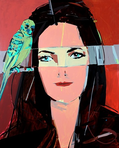 Lady with Parakeets