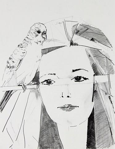 Lady with Parakeet