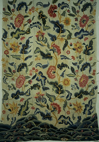 Curtain; linen and cotton twill, embroidered with wool; English, early to mid 18th c.