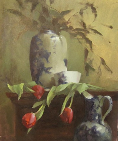 Tulips with Chinese Vase