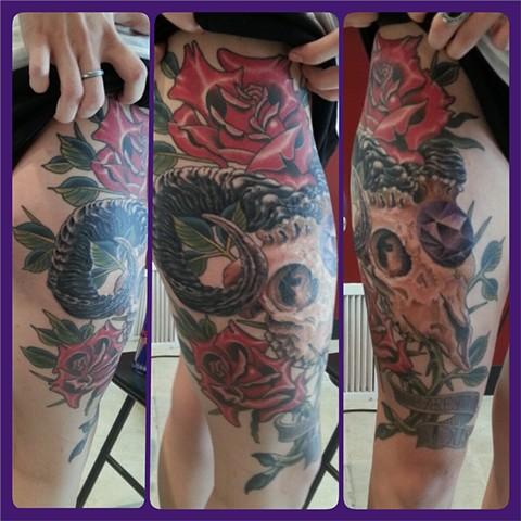 Ram skull, roses and jewel!!