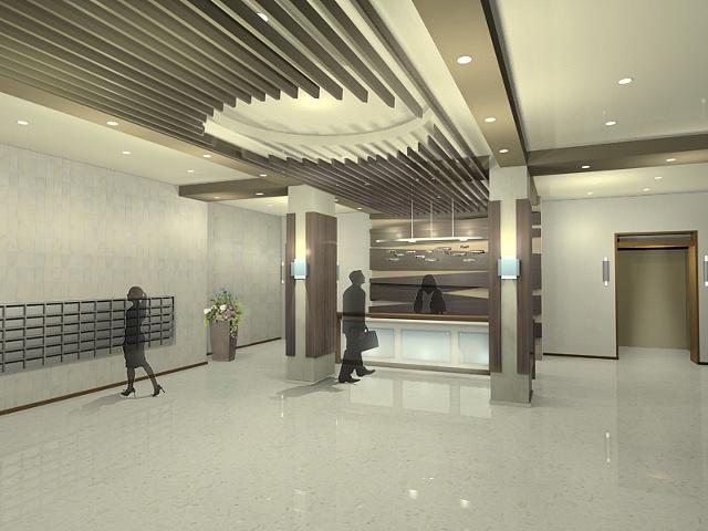 Apartment Lobby Design Angle 1