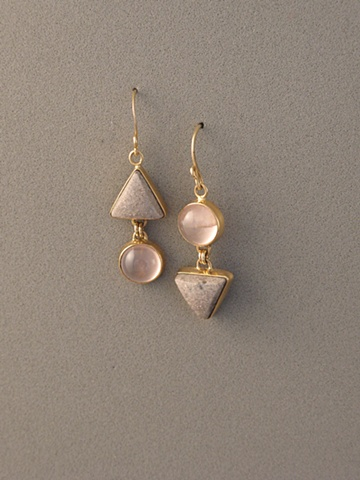 14kt Gold, Stones:  Rose Quartz, Gold in Schist