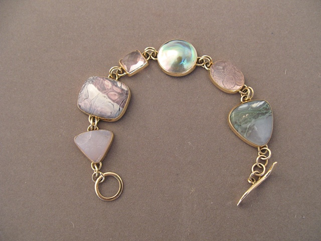 14kt gold, stones:  smithsonite, porcelain jasper, rose quartz, mabe pearl, rose quartz, Horse Canyon agate