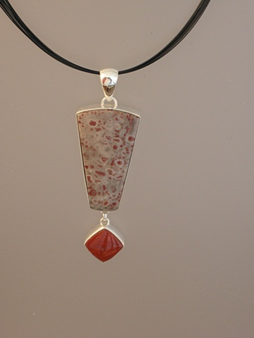 Sterling Silver, Stones:  Red Spotted Jasper, Red River Jasper