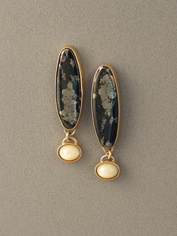 14kt Gold, Stones:  Pyrite, Honey Opal