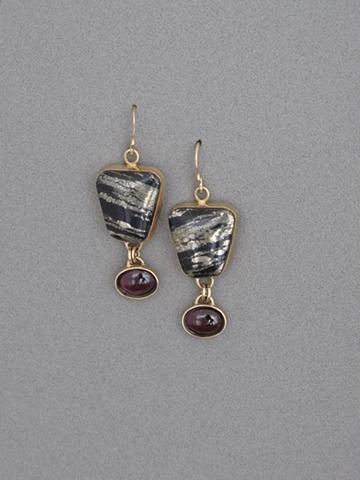 14kt Gold, Stone:  Pyrite, Garnet