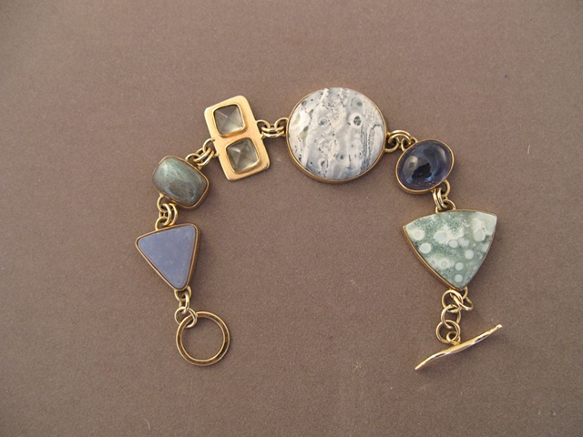 14kt gold, stones:  botryoidal chalcedony, labradorite, green moonstone, leopard jasper, iolite, Tahitian snowflake