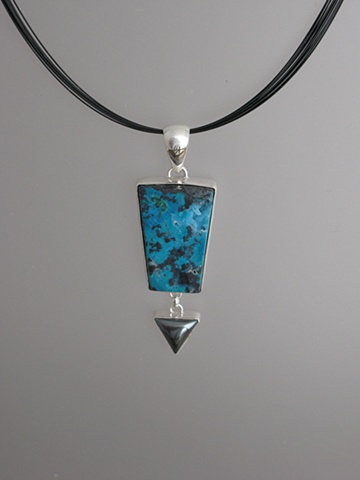 Sterling Silver, Stones:  Chrysocolla, Hematite