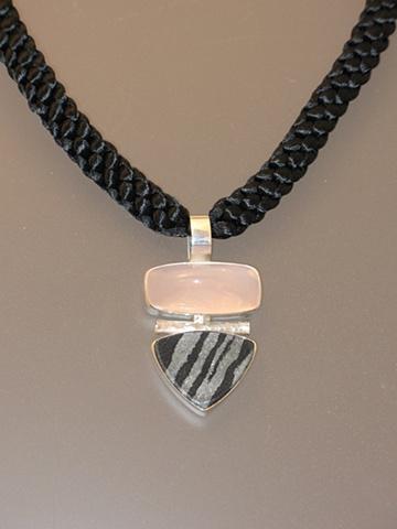 Sterling Silver Pendant:  Rose Quartz, Swedish Iron Ore