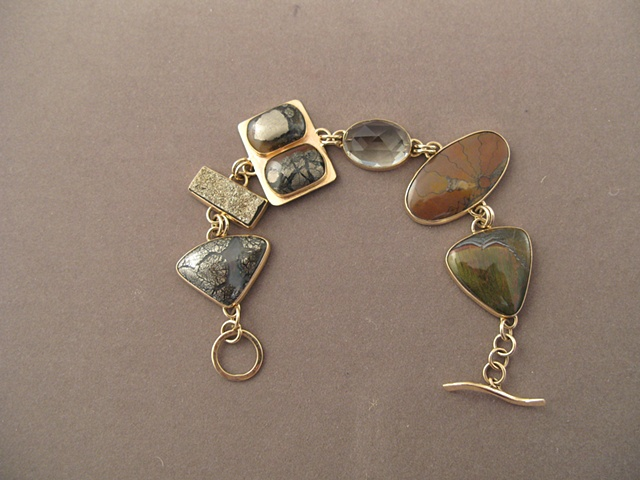 14kt gold, stones marcasite in agate, spectral pyrite, marcasite in agate, green amethyst, ammonite, Australian tiger iron