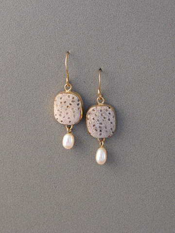 14kt Gold, Stones:  Fossil Palmwood, Chinese Fresh Water Pearl