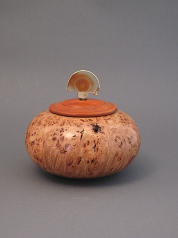 Wooden Vessel Lid:  Padauk, Base: Maple Burl