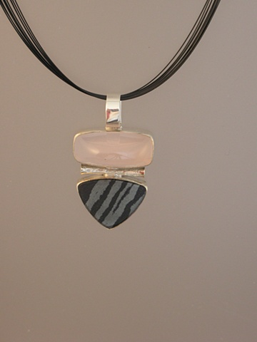 Sterling Silver, Stones:  Rose Quartz, Swedish Iron Ore