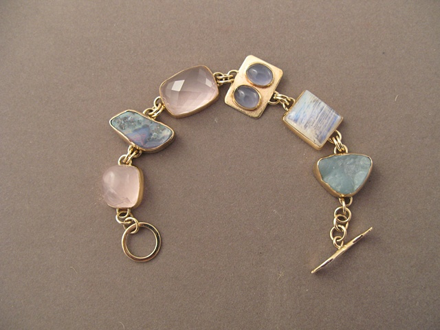 14kt gold, stones:  rose quartz, boulder opal, rose quartz, blue chalcedony, moonstones, smithsonite