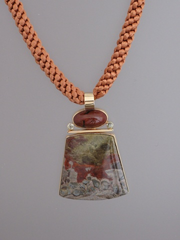 "14Kt Gold, Stones:  Jasper, Green Sapphires, Mushroom Jasper,  Pendant part of ""Jewelry For The Home"" vessel"