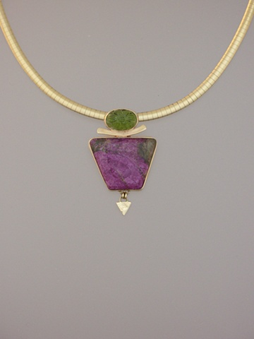 14kt Gold, Stones:  Carved Peridot, Stitchtite