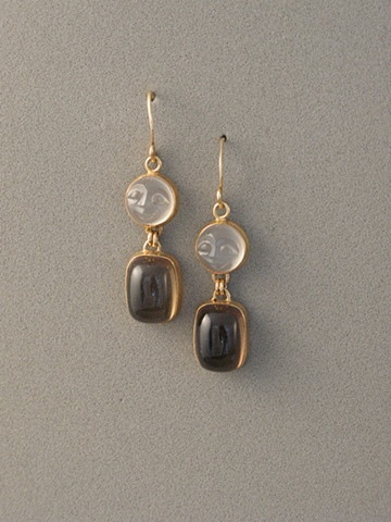 14kt Gold, Stones:  Carved Moonstone, Smokey Quartz