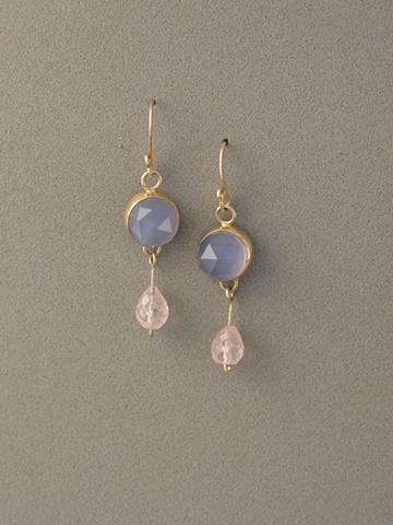 14kt Gold, Stones:  Blue Chalcedony, Rose Quartz Briolettes