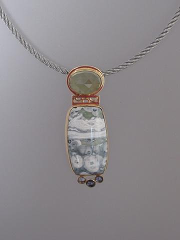 14kt Gold, Stones:  Prehnite, Leopard Jasper, Iolites