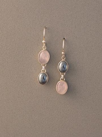 Sterling Silver, Stones:  Rose Quartz, Hematite