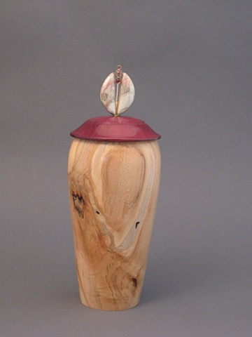 Wooden Vessel Lid:  Purple Heart, Base:  Ambrosia Maple