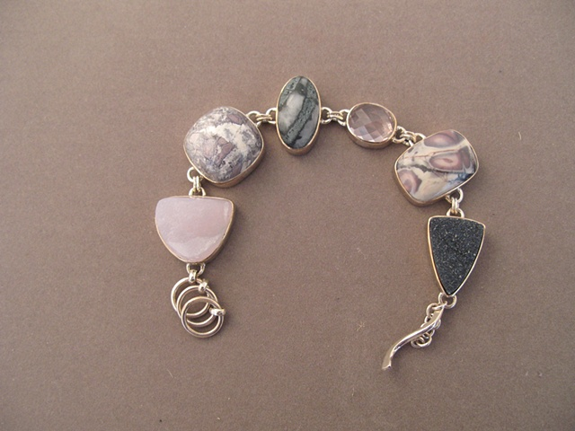 Sterling Silver, stones:  smithsonite, porcelain jasper, hematite in calcite, rose quartz, porcelain jasper, gray druzy