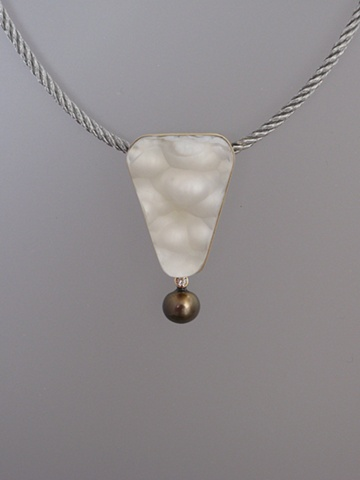 14kt Gold, Sterling Silver, Stones:  Botryoidal Agate, Natural Brown Diamond, Tahitian Pearl