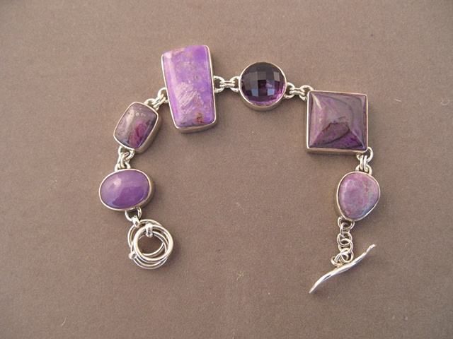 Sterling Silver, stones:  sugelite and amethyst