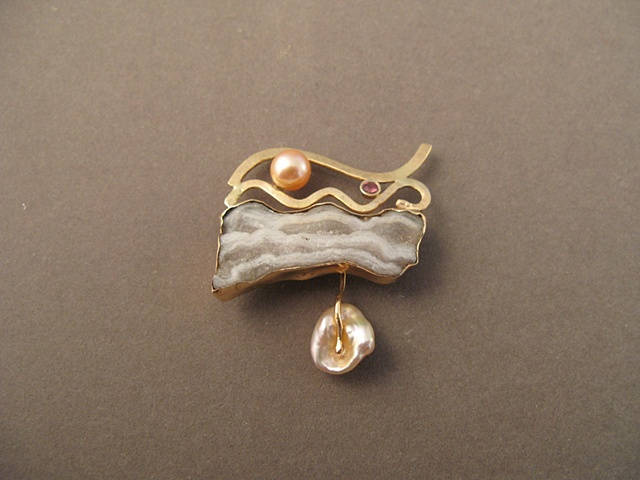 14kt Gold, Stones:  Fossil Stalactite, Peach Sapphire, Chinese Fresh Water Pearls