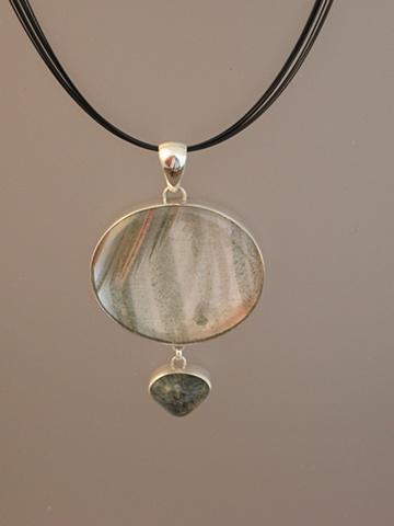 Sterling Silver, Stones:  Phantom Crystal, Dendritic Quartz