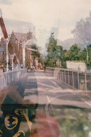 A lo-fi multiple exposure film photo of Albert Bridge, Battersea Park, London, England.