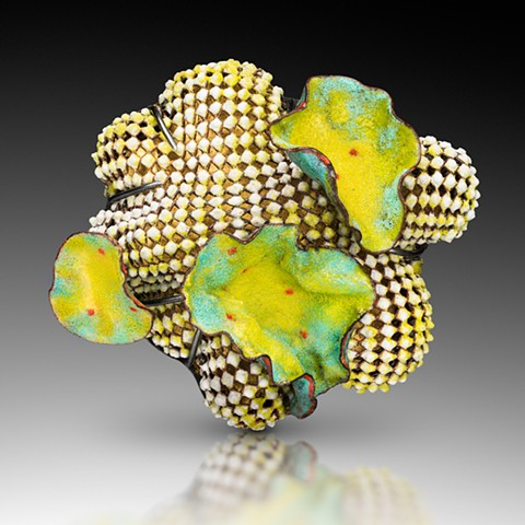 Contemporary art jewelry enameled brooch by Wendy McAllister