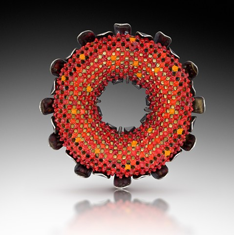 """HELIANTHUS"" Brooch. 3.5"" x 3.5"" x .75"" Vitreous enamel, copper, sterling silver, 24k gold leaf Photo by Victor Wolansky Photography"