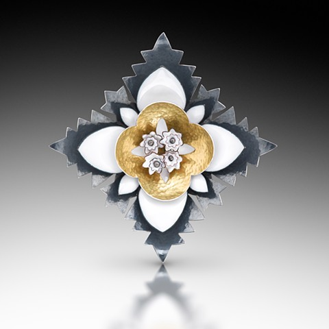 """THISTLE"" Brooch/Pendant.  3.5"" x 3.5"" x .75"" Vitreous enamel, copper, sterling silver Photo by Victor Wolansky Photography"