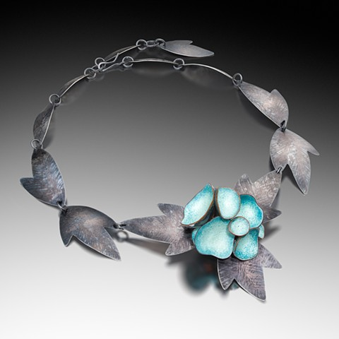"""ANEMONE NECKLACE"" Vitreous enamel, copper, sterling silver Photo by Victor Wolansky Photography"
