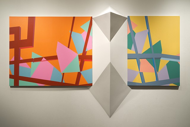 Installation Photograph, Left to Right:  'GODE NEWS' (Midnight Sun)  'Release Your Soul' (High Noon)