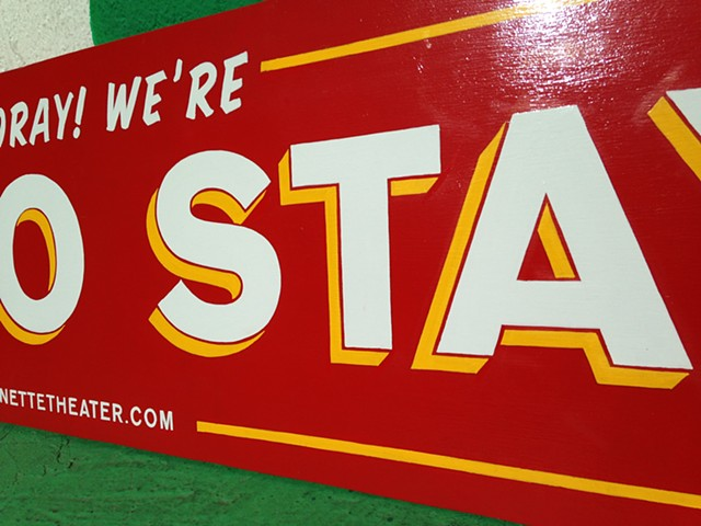 In LA to Stay (detail 2)  Hand painted sign  Design: Bob Baker Marionette Theatre, Los Angeles, CA