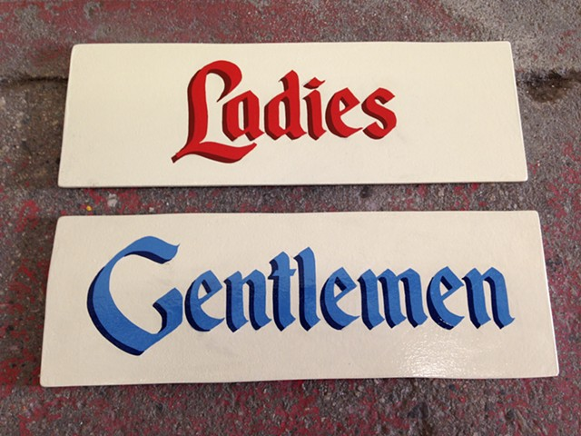 Ladies and Gentlemen  Hand painted signs  Design: Bob Baker Marionette Theatre, Los Angeles, CA
