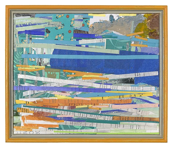 Vintage framed collage, tape, acrylic paint, packaging material, shredded paper, oil crayon