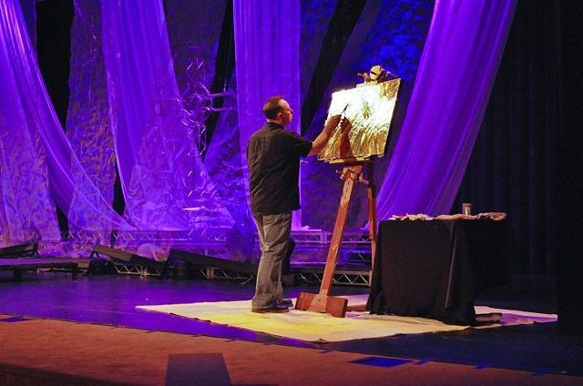 Painting at Venture Christian Church, Los Gatos, CA. Easter services 2010.