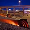 Night shot of Big-I Landscape design and illuminated sculptural elements