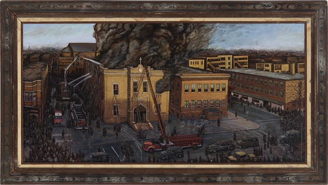 Historical Chicago disaster birds eye view landscape painting