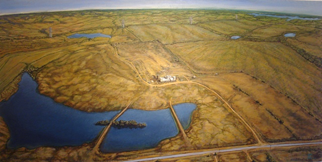 American death cult Branch Davidian compound Waco birds eye view landscape painting