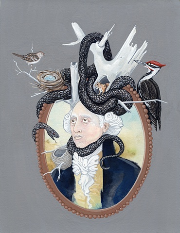 Snake, sparrow, wood pecker, big wig, colonial, portrait, justin richel