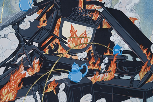 justin Richel, art, come hell or high water, gouache, painting, artist, threshold, cycle, debacle, pyre