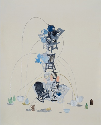 justin Richel, art, come hell or high water, gouache, painting, artist, threshold, cycle, debacle, pyre, shaky shower,