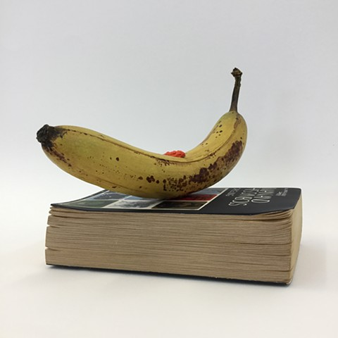 justin richel, simulacra, simulation, trickster, carved wood, carving, wood, gouache, banana, jung, carl jung, man and his symbols, used books, sign, symbol, signified,