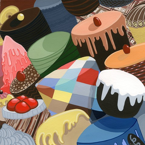 justin richel, sweets, gouache, painting, painter, cakes, pies